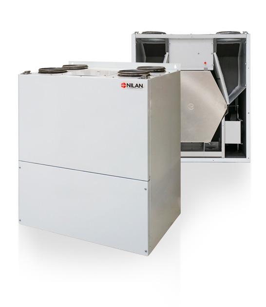 Nilan Comfort 200 Top ilmanvaihtokone lämmontalteenotolla, avattuna ja kiinni