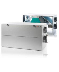Nilan Comfort 300 LR ilmanvaihtokone lämmöntalteenotolla, avattuna ja kiinni