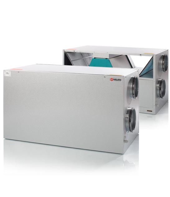 Nilan Comfort 600 ilmanvaihtokone lämmöntalteenotolla, avattuna ja kiinni